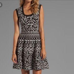 Rebecca Taylor Intarsia A-Line Dress Leopard Print